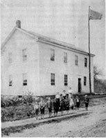 North Hall circa 1900 with students and teacher